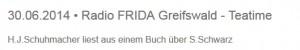 Ankündigung Radio Frieda 30.06.2014